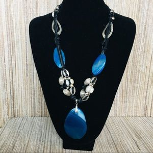 Jewelry - New 18K White GP Statement Blue Agate Necklace
